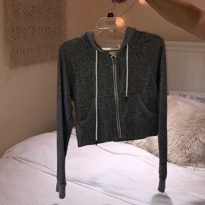 Light Grey Cropped Urban Outfitters Zip Up Hoodie